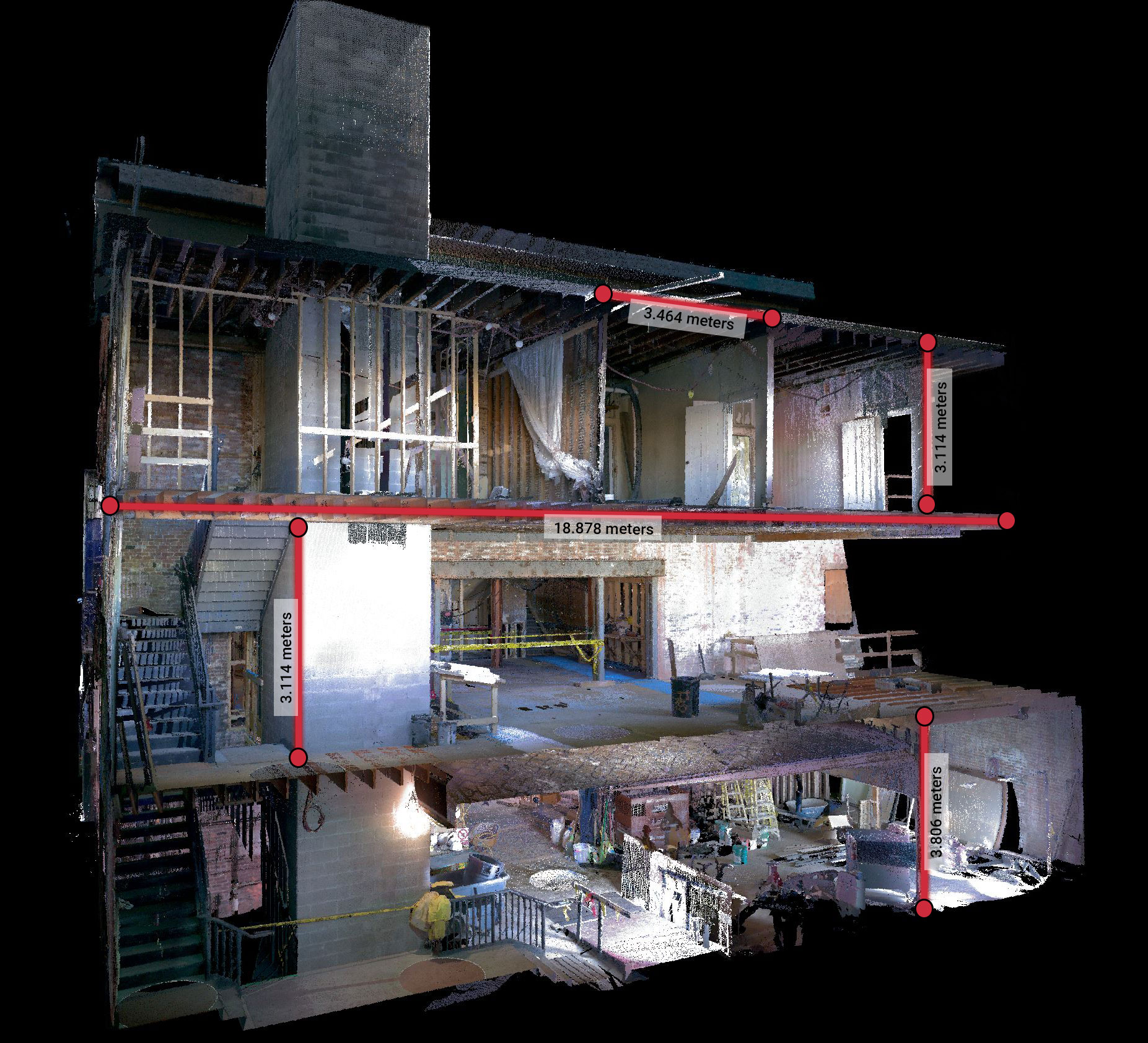 measurements of building in point cloud data
