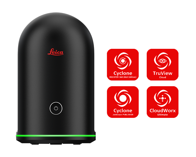 Leica BLK360 with software icons