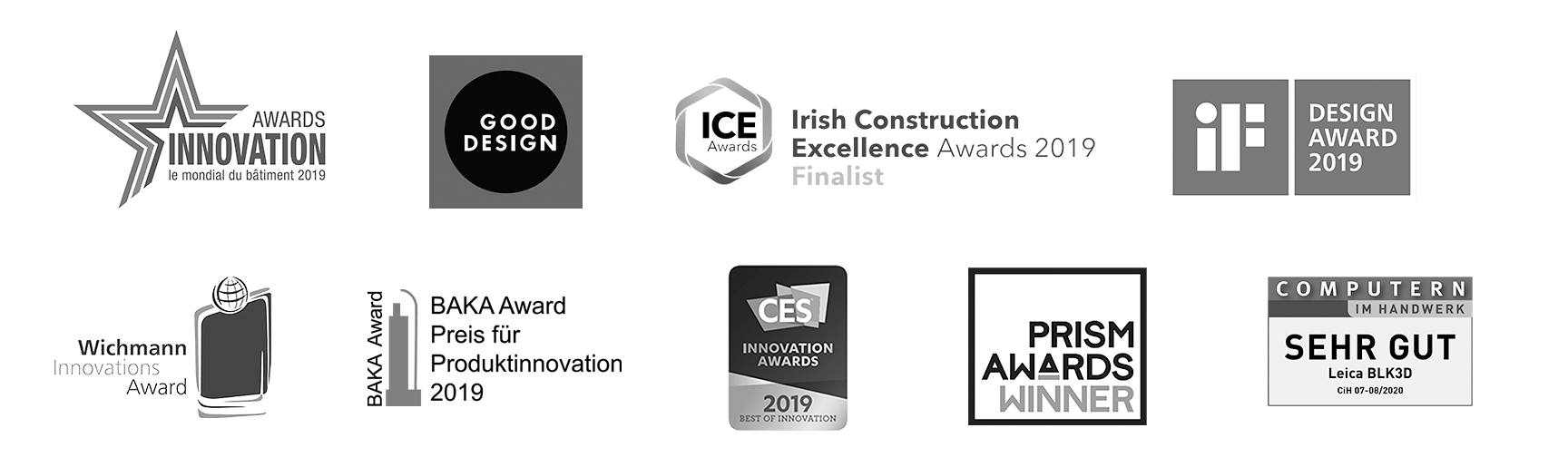 a collage of award logos, won by the Leica BLK3D