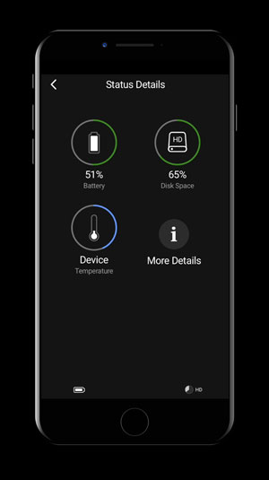 iPhone showing the device management screen on the BLK2GO Live App