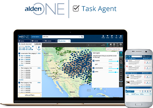 Alden task agent on laptop monitor and phone screen