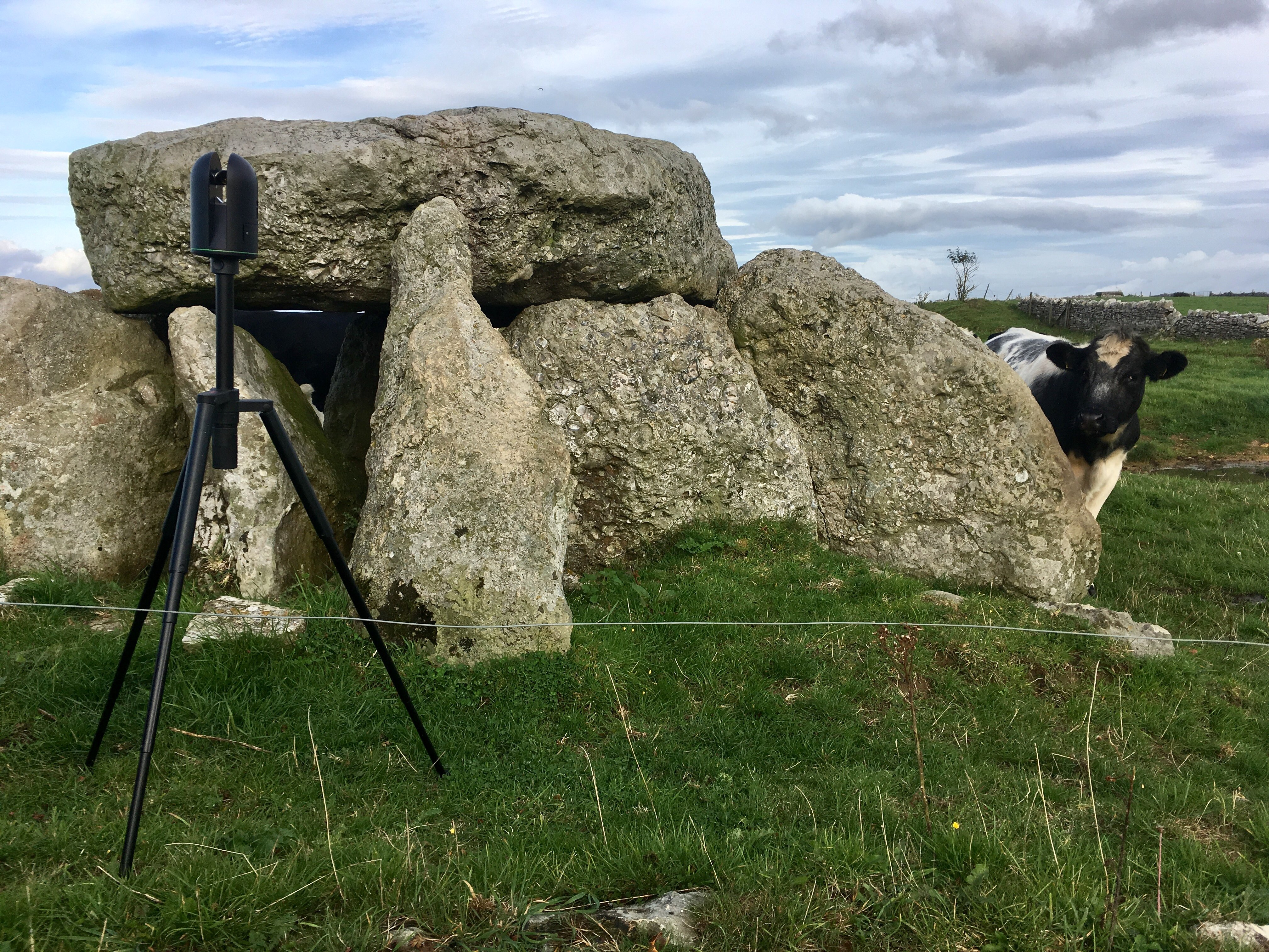 Leica BLK360 in field with a cow