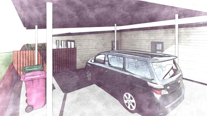Concept drawing of a carport for wheelchair access.