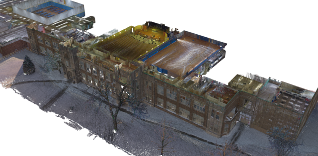 Voxelized point cloud image of a school building taken with the BLK2GO