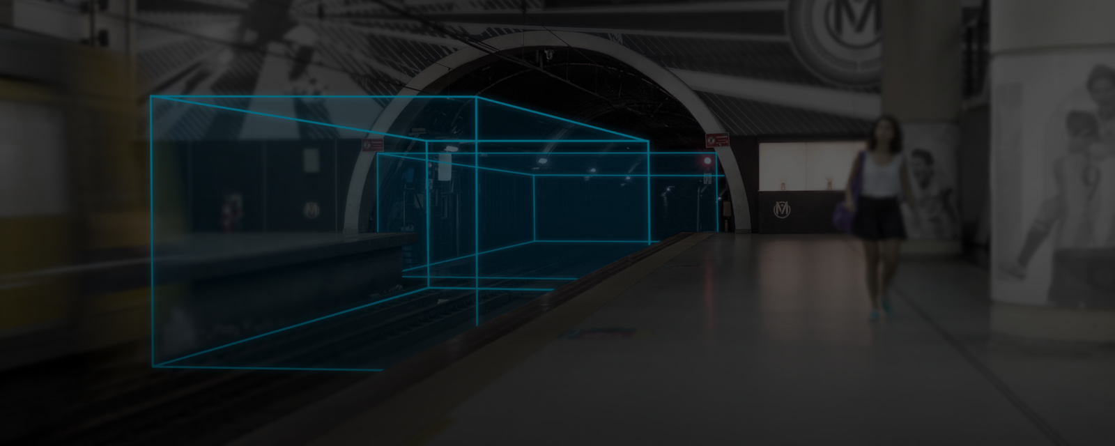 3D geofence in a train tunnel entrance
