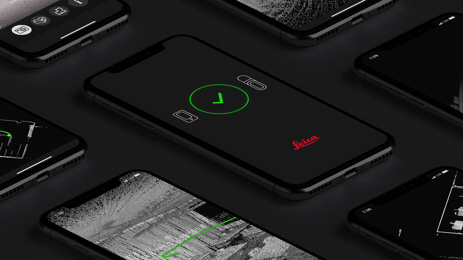 iPhones displaying screenshots of Leica BLK2GO Live App