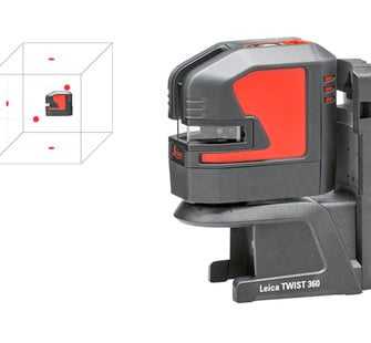 The point-laser is easily rotated 360° around the plumb point, providing greater flexibility when creating 90° layouts.