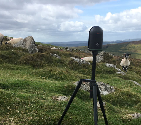 BLK360 in field with sheep